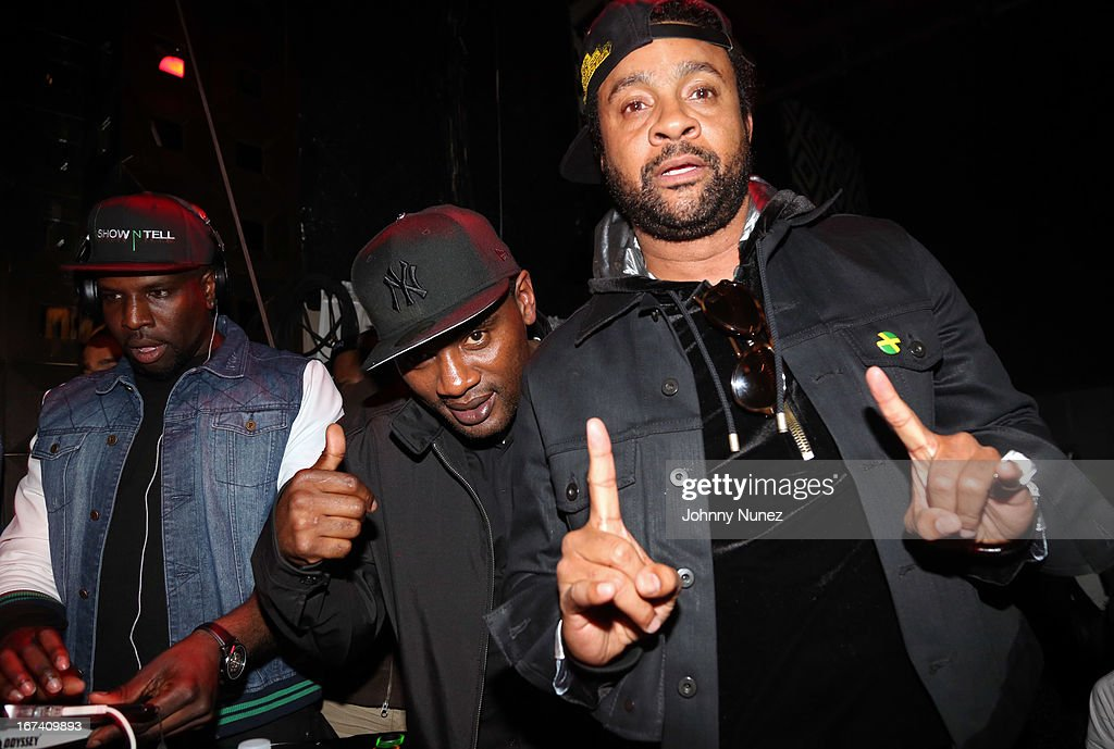 DJ Show N Tell, co-founder of Massive B Sound System and WQHT radio personality Jabba, and recording artist <a gi-track='captionPersonalityLinkClicked' href=/galleries/search?phrase=Shaggy+-+Singer&family=editorial&specificpeople=210859 ng-click='$event.stopPropagation()'>Shaggy</a> attend Hot 97's Who's Next Live: Reggae Edition at S.O.B.'s on April 24, 2013 in New York City.