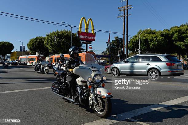 A show of force by the Los Angeles Police Department to prevent disturbances by protestors around Leimert Park during a demonstration against the...