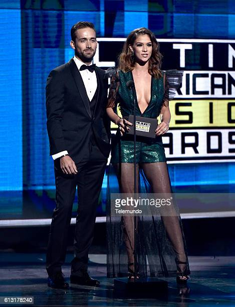 AWARDS 'Show' Pictured Actor Mauricio Henao and actress Carolina Miranda on stage during the 2016 Latin American Music Awards at the Dolby Theater in...