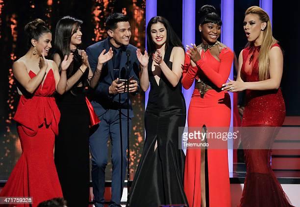Ally Brooke Hernandez Lauren Jauregui Luis Coronel Dinah Jane Hansen Normani Kordei and Camila Cabello on stage during the 2015 Billboard Latin Music...