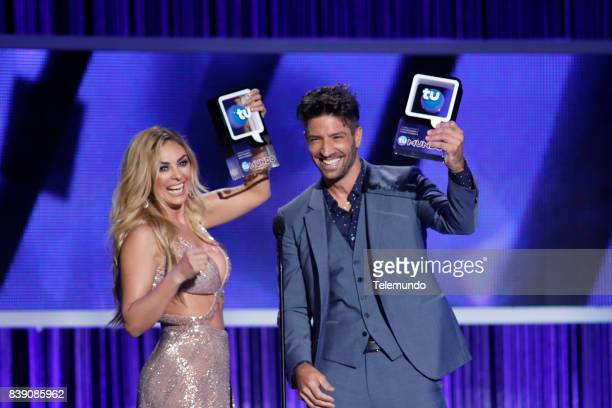 MUNDO 2017 'Show' Pictured Aracely Arámbula and David Chocarro on stage during the 2017 Premios Tu Mundo at the American Airlines Arena in Miami...