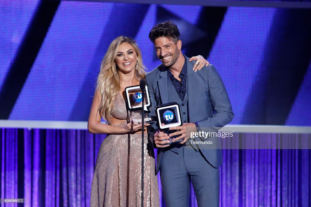 MUNDO 2017 -- 'Show' -- Pictured: Aracely Arámbula and David Chocarro on stage during the 2017 Premios Tu Mundo (Your World Awards) at the American Airlines Arena in Miami, Florida on August 24, 2017 --