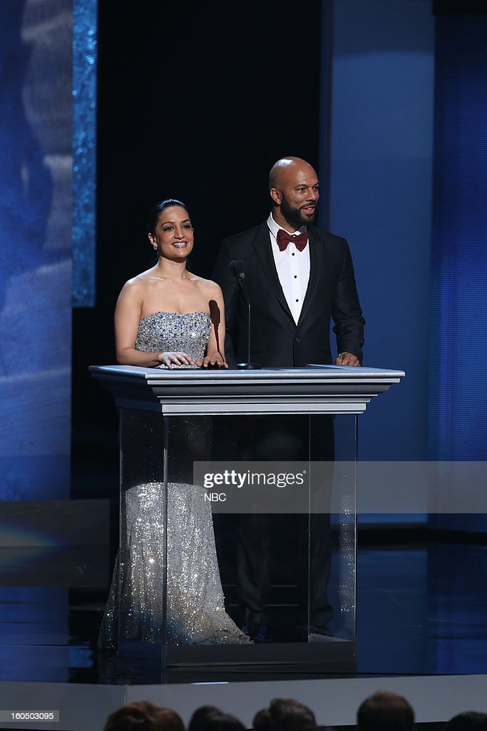 Archie Panjabi, Common present on stage at The Shrine Auditorium, February 1, 2013 --