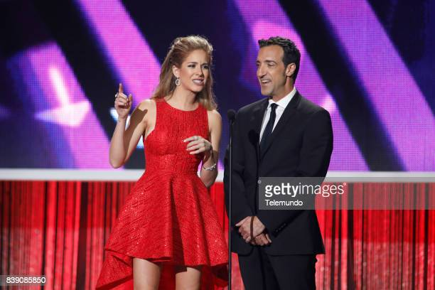 MUNDO 2017 'Show' Pictured Carmen Aub and Alberto Mateo on stage during the 2017 Premios Tu Mundo at the American Airlines Arena in Miami Florida on...