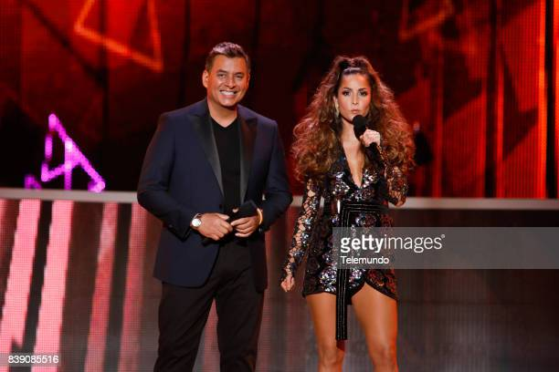 MUNDO 2017 'Show' Pictured Daniel Sarcos and Carmen Villalobos on stage during the 2017 Premios Tu Mundo at the American Airlines Arena in Miami...