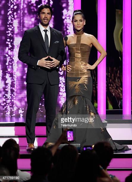 Eduardo Verástegui and Carmen Villalobos on stage during the 2015 Billboard Latin Music Awards from Miami Florida at the BankUnited Center University...