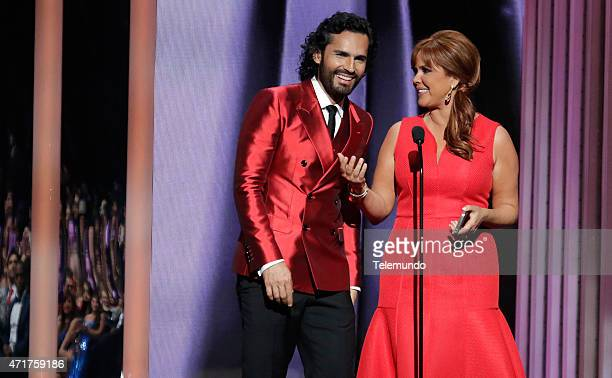 Fabián Ríos and María Celeste Arrarás on stage during the 2015 Billboard Latin Music Awards from Miami Florida at the BankUnited Center University of...