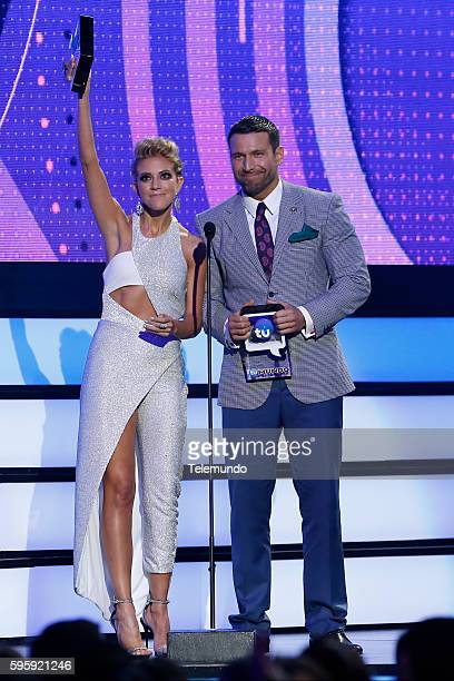 MUNDO 2016 'Show' Pictured Fernanda Castillo and Rafael Amaya on stage during the 2016 Premios Tu Mundo at the American Airlines Arena in Miami...
