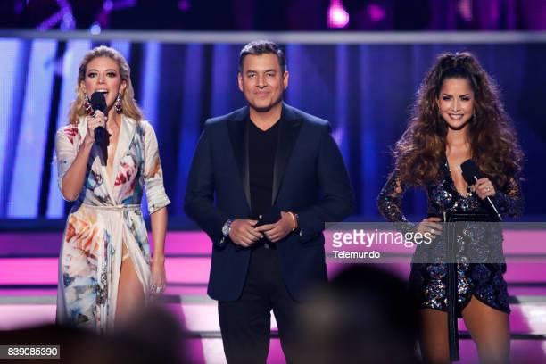 MUNDO 2017 'Show' Pictured Fernanda Castillo Daniel Sarcos and Carmen Villalobos on stage during the 2017 Premios Tu Mundo at the American Airlines...