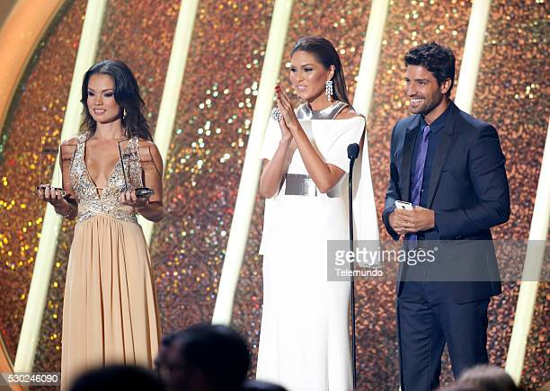 Gabriela Isler and David Chocarro on stage during the 2014 Billboard Latin Music Awards from Miami Florida at the BankUnited Center University of...