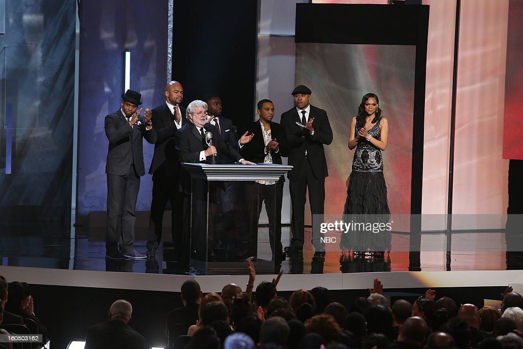 George Lucas (center), winner Outstanding Motion Picture, 'Red Tails' on stage at The Shrine Auditorium, February 1, 2013 --
