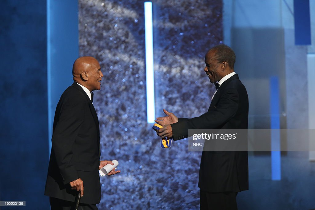 Harry Belafonte, Sidney Poitier on stage at The Shrine Auditorium, February 1, 2013 --