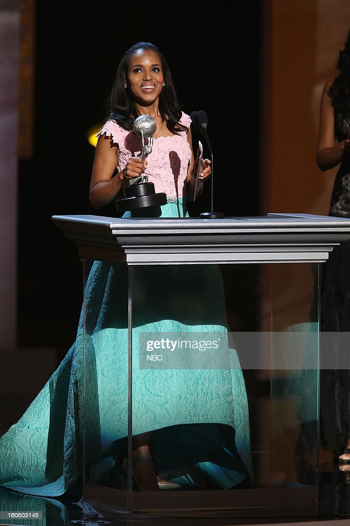 Kerry Washington, winner Outstanding Actress in a Drama Series, 'Scandal' on stage at The Shrine Auditorium, February 1, 2013 --