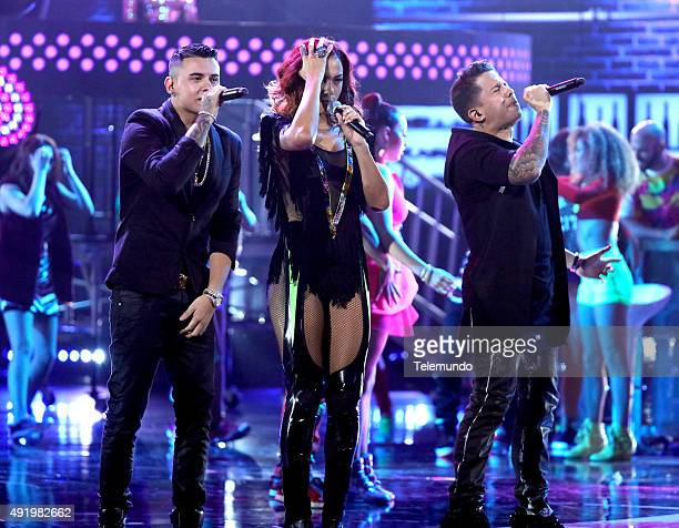 Kevin Roldan Natalie La Rose and De La Ghetto on stage during the 2015 Latin American Music Awards at The Dolby Theater in Hollywood CA on October 8...