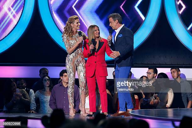MUNDO 2016 'Show' Pictured Maritza Rodriguez Ana Maria Polo and Carlos Ponce on stage during the 2016 Premios Tu Mundo at the American Airlines Arena...