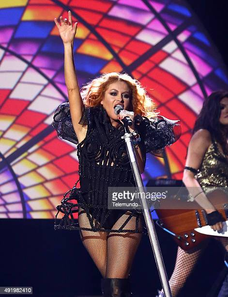 Paulina Rubio on stage during the 2015 Latin American Music Awards at The Dolby Theater in Hollywood CA on October 8 2015 LATIN AMERICAN MUSIC AWARDS...