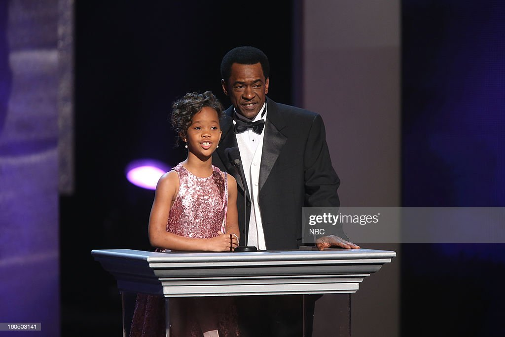 Quvenzhan? Wallis, Dwight Henry presenting on stage at The Shrine Auditorium, February 1, 2013 --
