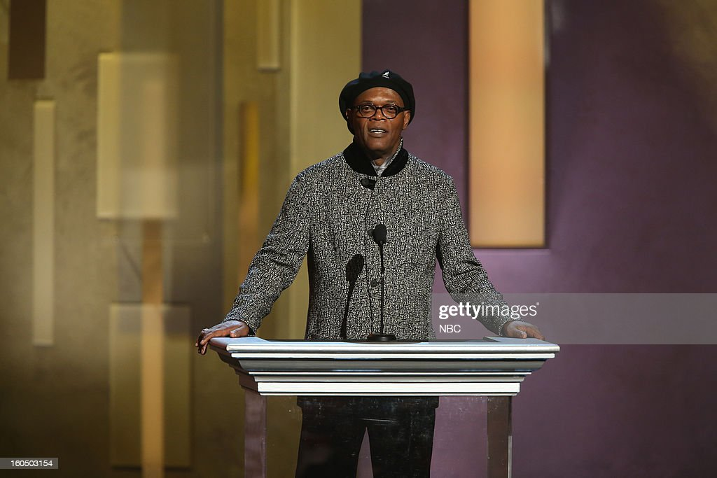 Samuel L Jackson presenting on stage at The Shrine Auditorium, February 1, 2013 --