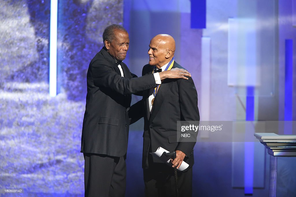 Sidney Poitier, Harry Belafonte on stage at The Shrine Auditorium, February 1, 2013 --