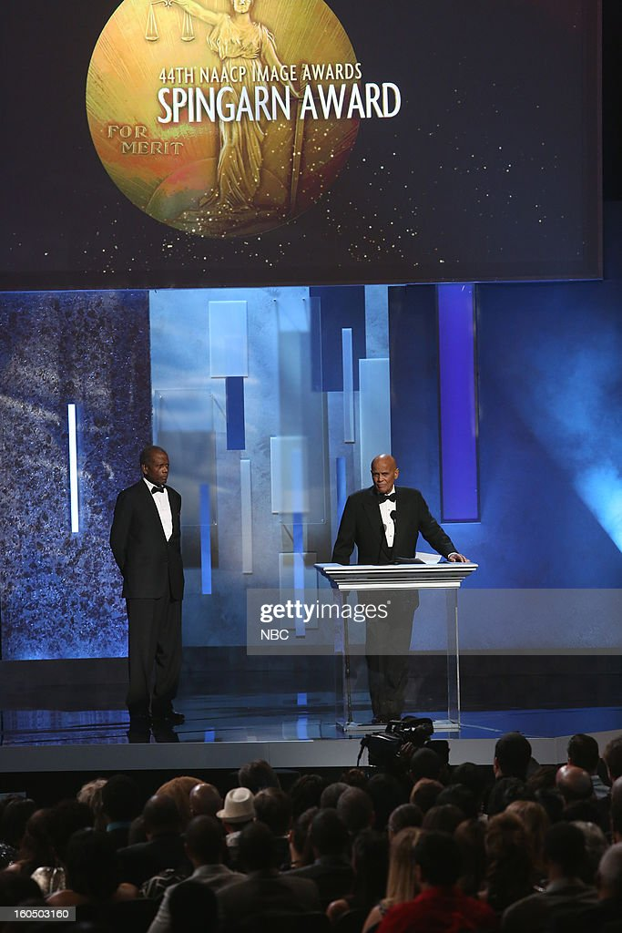 Sidney Poitier, Harry Belafonte presenting on stage at The Shrine Auditorium, February 1, 2013 --