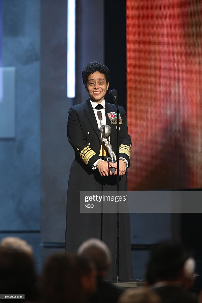 Vice Admiral Michelle Howard receiving Chairman's Award on stage at The Shrine Auditorium, February 1, 2013 --