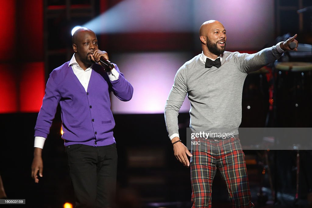 Wyclef Jean, Common on stage at The Shrine Auditorium, February 1, 2013 --