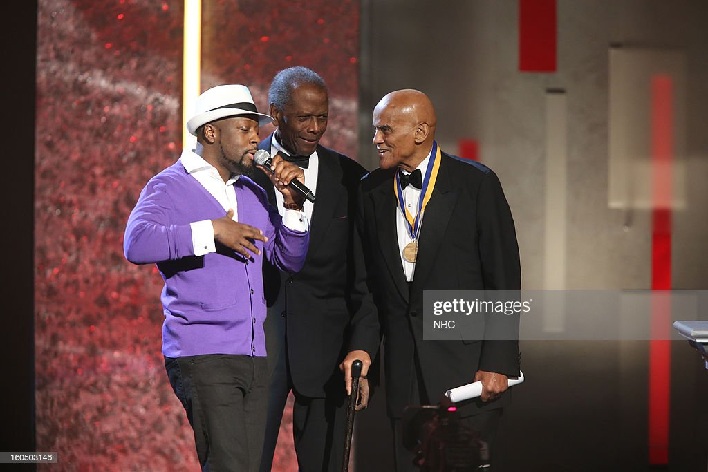 Wyclef Jean, Sidney Poitier, Harry Belafonte on stage at The Shrine Auditorium, February 1, 2013 --
