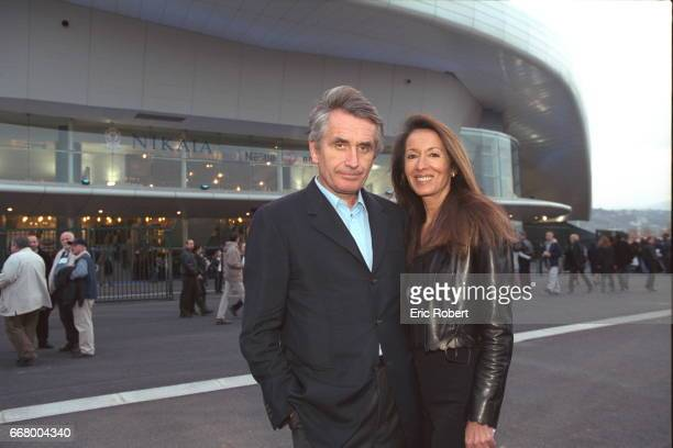Show producer Gilbert Coullier with his wife Nicole in front of the Nikaia hall where Elton John performed