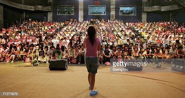 TV show 'Super Girl Voice' is filmed at Hunan Satellite TV station on June 21 2006 in Changsha city Hunan province of China 'Super Girl Voice' is an...