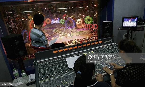 TV show 'Super Girl Voice' is recorded at Hunan Satellite TV station on June 21 2006 in Changsha city Hunan province of China 'Super Girl Voice' is...