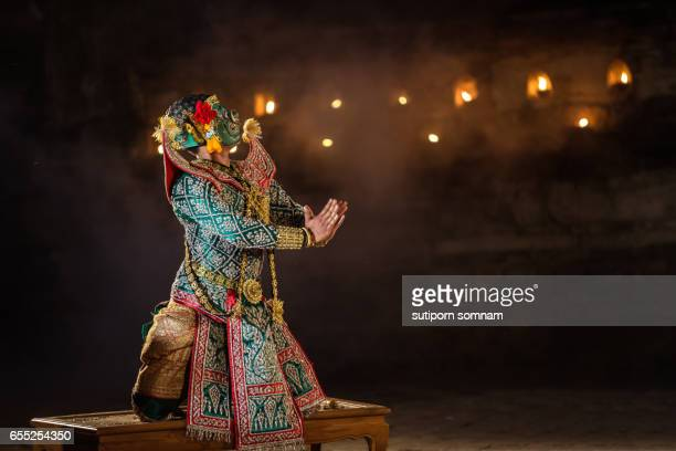 KHON THAI Show the Masked Ramayana story Thai traditional dance with character performance thai dancing
