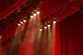 Red curtains and lights on stage at the show.