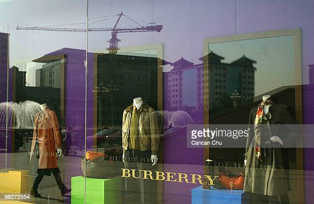 A show window of luxury brand Burberry's store at the oriental plaza on November 25 2005 in Beijing China Currently China is the world's third...