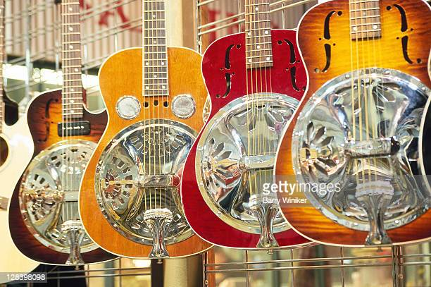 Showcase displaying Dobro resonating guitars