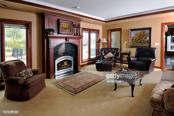 Showcase Home Living Room; Fireplace, Carpet, Hardwood, Perfect Luxury