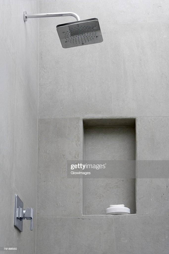 Shower and a soap dish in the bathroom : Foto de stock