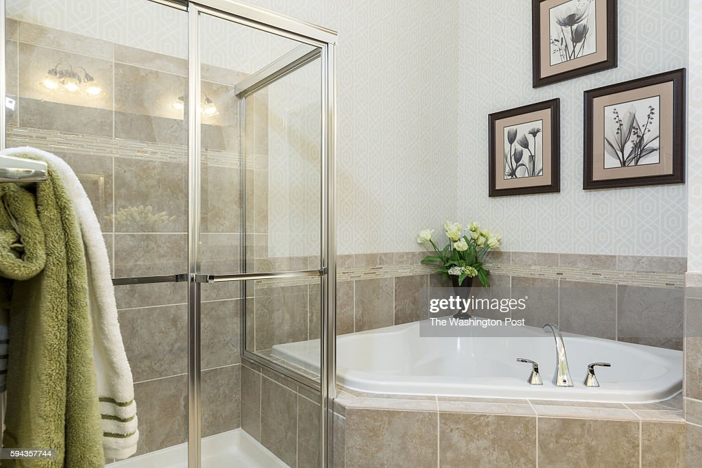 Shower and Bath in the Master Bath in the Edinburgh Model at Admirals Ridge on August 11 2016 in Arnold Maryland