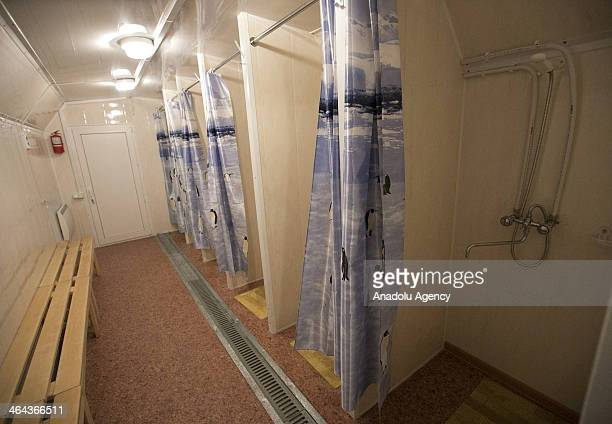 Shower cabins are established by church for homeless people in Moscow Russia on January 22 2014 The church sets up tents for homeless temperatures in...