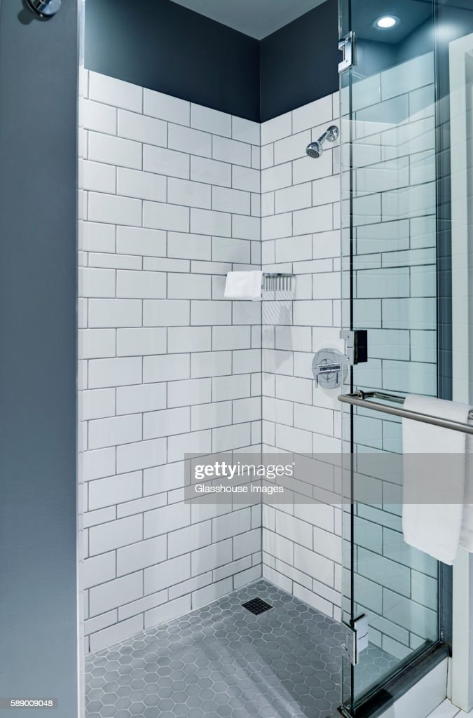 Shower Enclosure with White Tiles