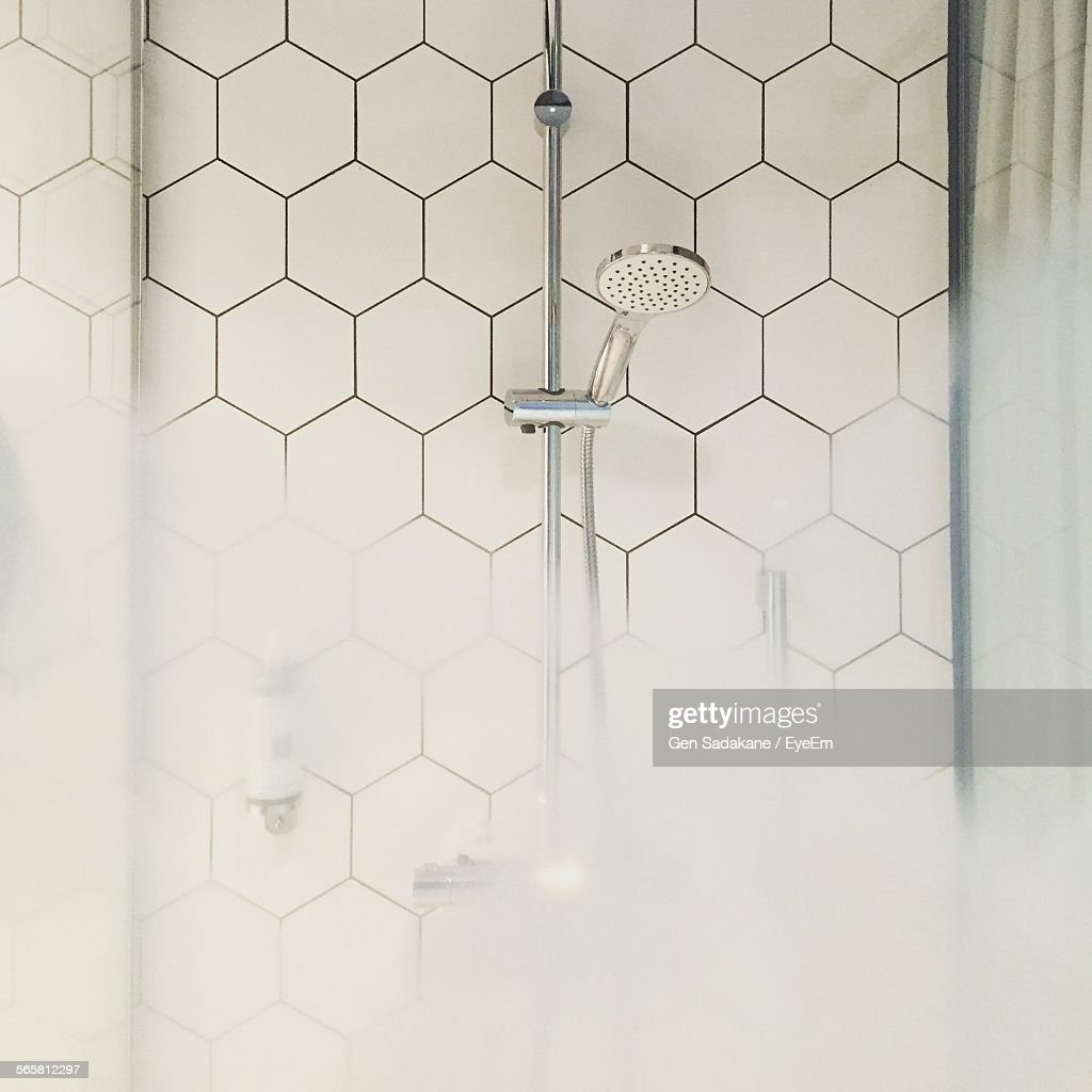 Shower Head And With Steam In Bathroom