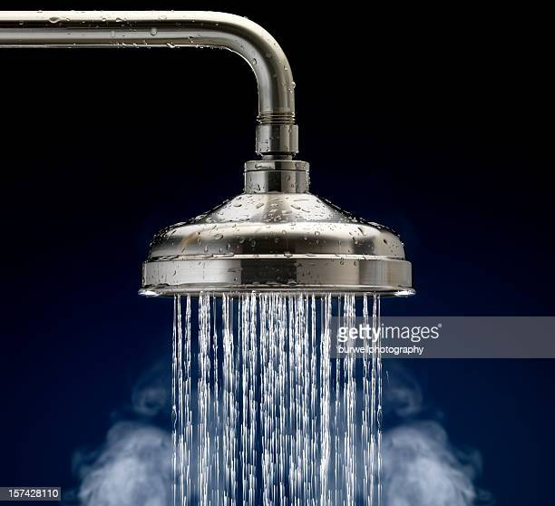 Shower Head with water droplets and steam, isolated