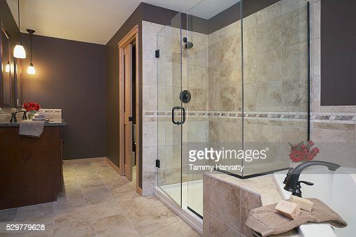 Shower in bathroom : Stock Photo