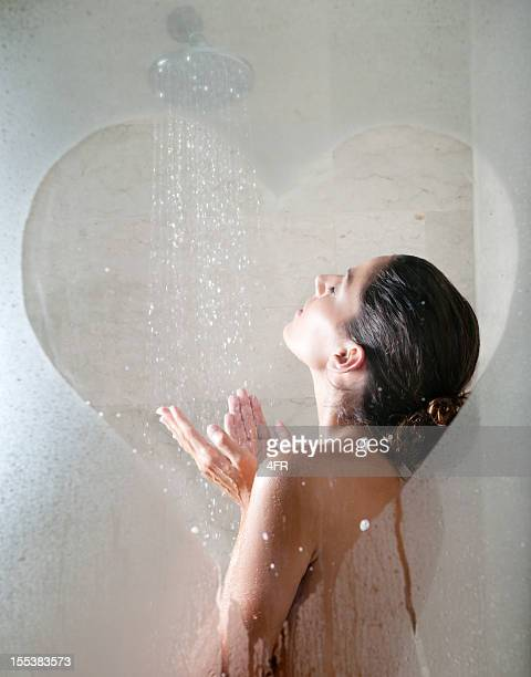 Shower Love, Naked Beautiful Woman Showering