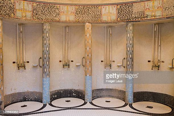 Showers at Gellert Baths.