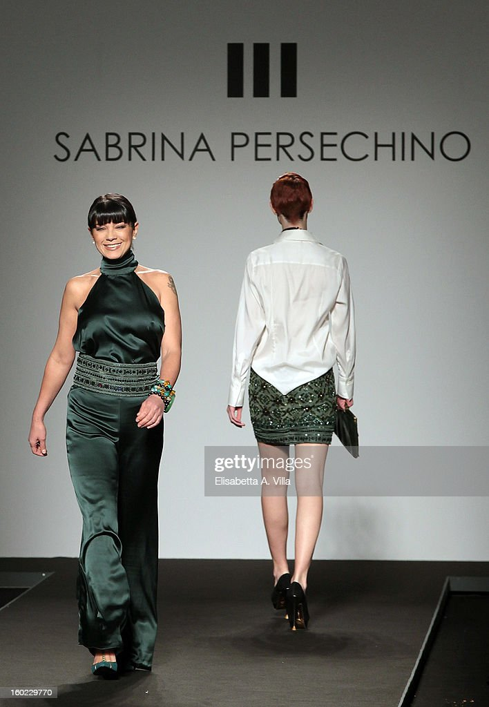 Showgirl Ana Laura Ribas walks the runway during Atelier Persechino S/S 2013 Italian Haute Couture colletion fashion show as part of AltaRoma AltaModa Fashion Week at Santo Spirito In Sassia on January 28, 2013 in Rome, Italy.