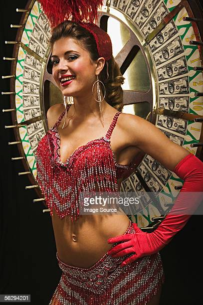 Showgirl by the wheel of fortune