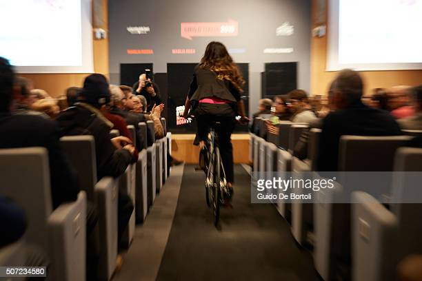 Showgirl Giorgia Palmas attends the Giro D'Italia 2016 jersey unveiling on at Sala Buzzati on January 28 2016 in Milano Italy
