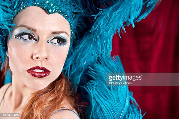 Showgirl in Blue Looking to the Side