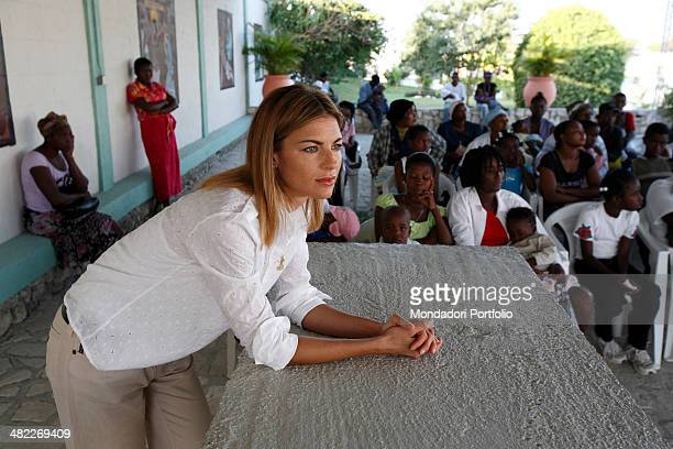 Showgirl Martina Colombari during a photo shoot about her visit to Haiti for NPH in January 2008
