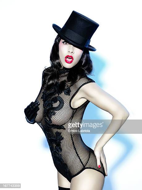 Showgirl Melita Toniolo is photographed for Maxim Magazine Italy on November 15 2007 in Milan Italy